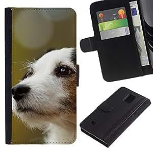 All Phone Most Case / Oferta Especial Cáscara Funda de cuero Monedero Cubierta de proteccion Caso / Wallet Case for Samsung Galaxy Note 4 IV // Jack Russell Terrier Dog Canine