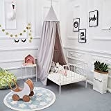 ONMIER Mosquito Net Canopy, Cotton Canvas Dome Princess Bed Canopy Kids Play Tent Mosquito Net Children's Room Decorate for Baby Kids Indoor Outdoor Playing Reading (Grey)