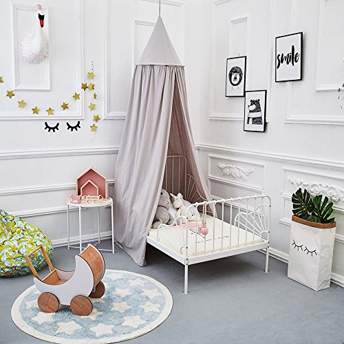 ONMIER Mosquito Net Canopy, Cotton Canvas Dome Princess Bed Canopy Kids Play Tent Mosquito Net Children's Room Decorate for Baby Kids Indoor Outdoor Playing Reading (Play Tent Canopy)