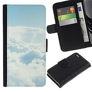 Protector de cuero de la PU de la cubierta del estilo de la carpeta del tirón BY RAYDREAMMM - Apple Iphone 4 / 4S - Cielo despejado Nube