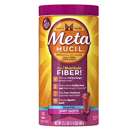 Metamucil Multi-Health Fiber by Meta, Berry Smooth Sugar Free 114 Teaspoons 23.3 Oz