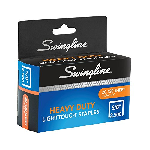 "Swingline LightTouch Heavy Duty Staples, 5/8"" Leg Length, 2,500 Per Box"