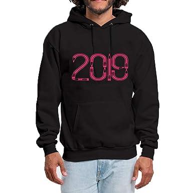 8162c5c8705 SHUAIFA Mens Long Sleeve Hooded Autumn Winter Casual Sweatshirt Hoodies  2019 New Year Countdown Printed Top Blouse at Amazon Men s Clothing store