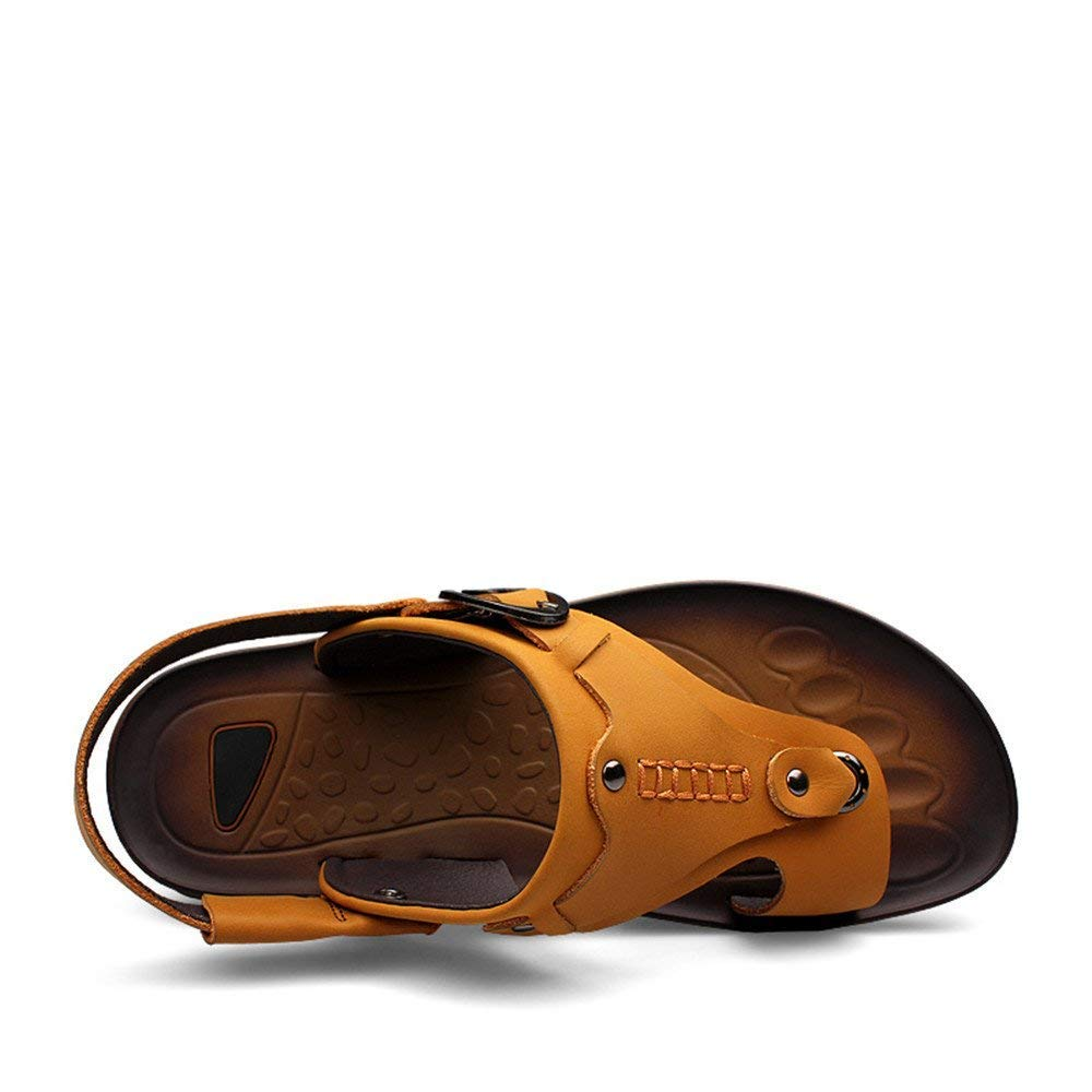 FuweiEncore 2018 Sandali da Uomo Uomo Uomo Tacco Piatto Slip On Sandali Switch Backless scarpe (colore  Kaki, Taglia  39 EU) (colore   Giallo, Dimensione   40 EU) cd2240