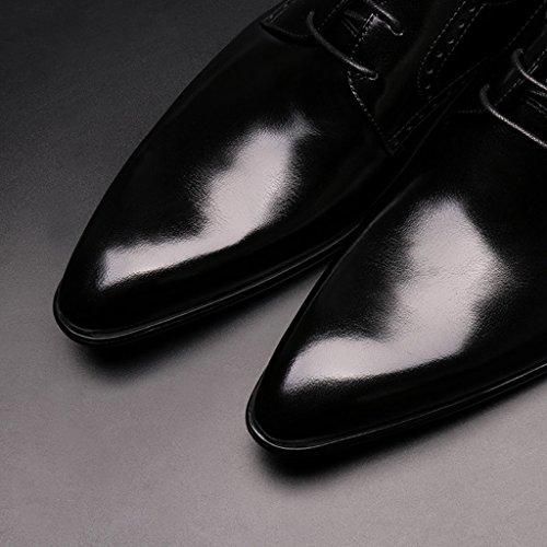 HWF Scarpe Uomo in Pelle Scarpe da uomo in pelle Abbigliamento formale Business Scarpe in pizzo stile inglese con cuciture traspiranti (Colore : Yellow-brown, dimensioni : EU44/UK8.5) Nero