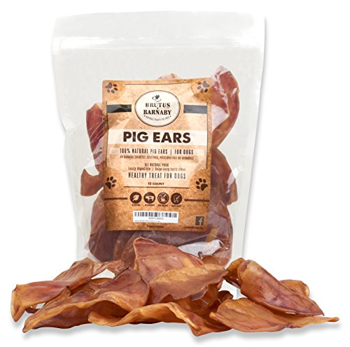 (100% Natural Whole Pig Ear Dog Treat, Brutus & Barnaby's Healthy, Pure Pork Ear is Easily Digestible with no Added Colorings, Chemicals or Hormones)