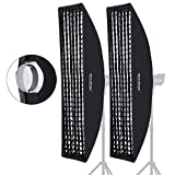 "Godox 35x160cm 14""x63"" Beehive Honeycomb Grid Strip Softbox Bowens Mount Studio Flash (2pcs)"