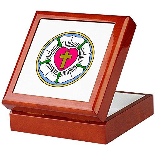 CafePress - Lutheran Rose - Keepsake Box, Finished Hardwood Jewelry Box, Velvet Lined Memento - Rose Box Tile