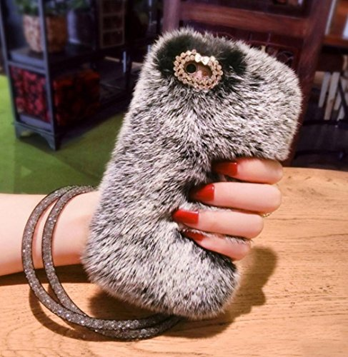 Losin Plush Case Compatible with Apple iPhone Xs Max Case Fashion Luxury Diamond Bowknot Cute Fuzzy Furry Winter Rabbit Hair Warm Plush Fluffy Fur Soft TPU Back case ()