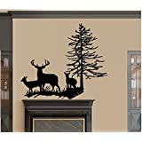 "DEER FAMILY WITH TREE ~ WALL DECAL, LARGE 22"" x 27"""