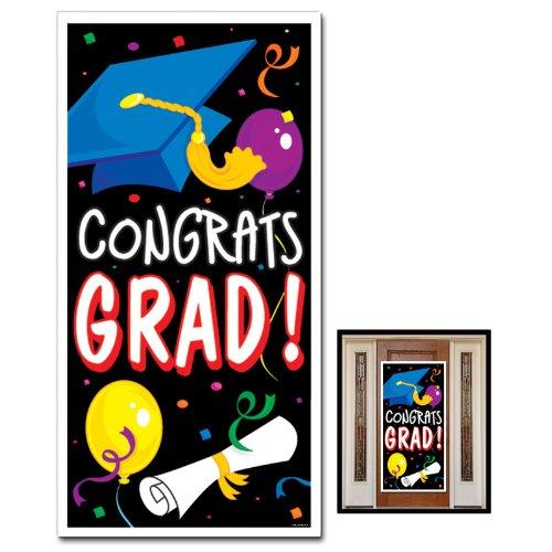 Congrats Grad Door Cover Party Accessory (1 count) (1/Pkg) (Halloween Decor With Balloons)