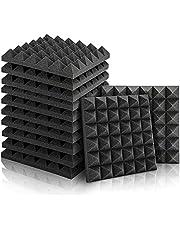 Akustiskt skum, 12 st svarta ljudsäkra paneler för podcasting, studior, kontor, ljudabsorberande (30 cm x 30 cm x 5 cm)