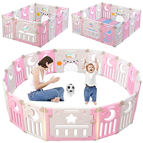 Dripex Baby Playpen, 14-Panel Foldable Kids Activity Centre Safety Play Yard Extendable Home Indoor Outdoor Baby Fence Play Pen with Gate for Baby Girls Boys Toddlers