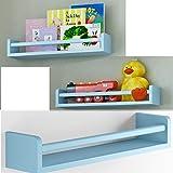 Set of 3 Children's Wall Shelf Wood 17.5 Inch Multi-use Bookcase Toy Game Storage Display Organizer (Light blue)