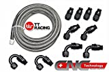 -6 AN6 PTFE Black Swivel Fittings + Stainless Steel Fuel Line Hose Kit 20FT