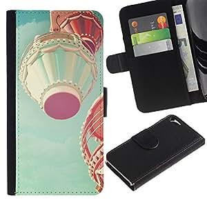 Billetera de Cuero Caso Titular de la tarjeta Carcasa Funda para Apple Iphone 5 / 5S / Air Balloon Romantic Teal Flying / STRONG