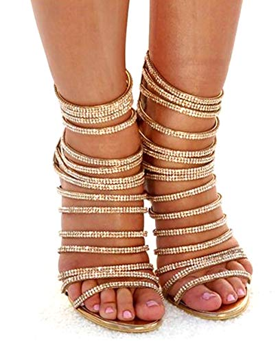 azmodo Woman High Stiletto Heel Dress Gladiator Peep Toe Sandals Gold 813-6 (US 10 / EU 41 / UK 7.5-8 / CN 42, Gold)