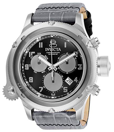 Invicta Men's Russian Diver Stainless Steel Quartz Watch with Leather Strap, Gray, 26 (Model: 26456)