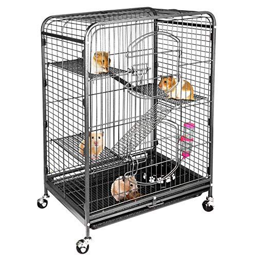 ZENY 37″ Ferret Cage Indoor Small Animals Hutch with 2 Front Doors and Feeder