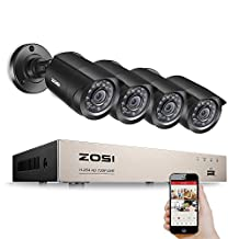 ZOSI 8-Channel 720P HD Video Security System CCTV DVR 4 Indoor/Outdoor 1.0MP 1280TVL Surveillance Security Camera System (Full 720P, HDMI Output, Weatherproof)