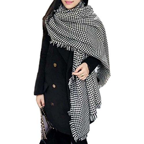 Mily Tartan Blanket Scarf Wrap Shawl Houndstooth Cashmere Scarf Unisex Blanket