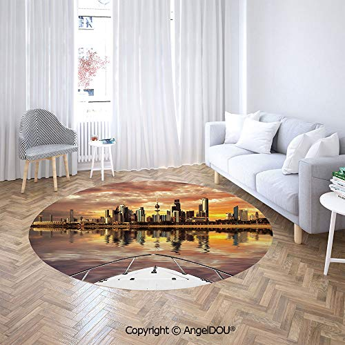 AngelDOU Soft Durable Round Children Carpet Play Mat Kuwait City Skyline from Sailboat Majestic Sky Skyscrapers Arabia Landscape Decorative Baby Crawling Blanket Area Rug. ()