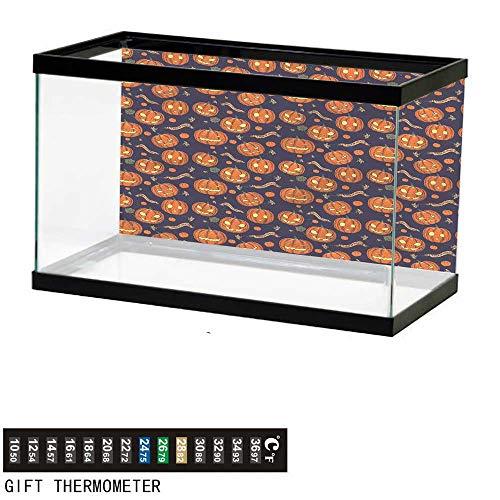 bybyhome Fish Tank Backdrop Halloween,Different Pumpkin Faces,Aquarium Background,60