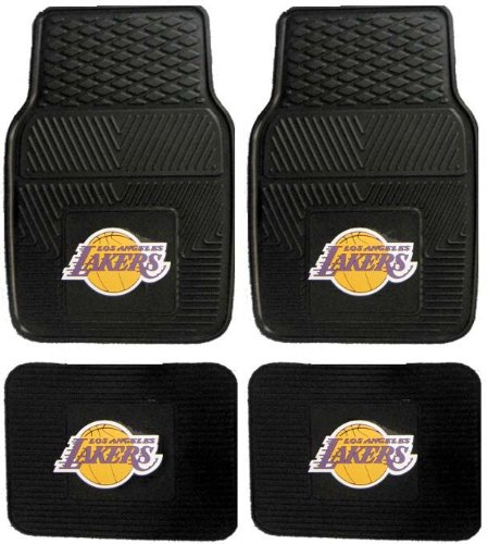 NBA Los Angeles Lakers Car Floor Mats Heavy Duty 4-Piece Vinyl - Front and Rear