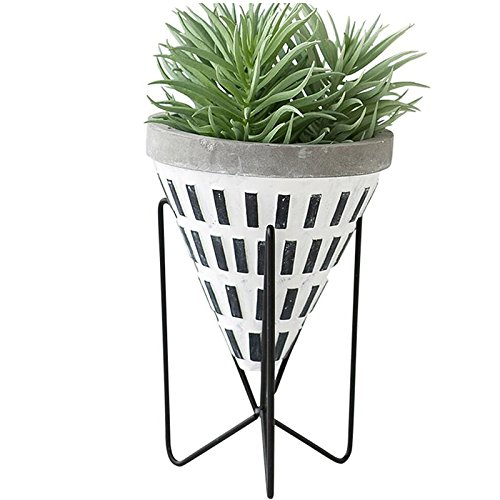 (DNSJB Black and White Cone Cement Vase Wrought Iron Flower Frame Ornament Decoration Table Display Rack Plant Stands Home Décor (Color : B))