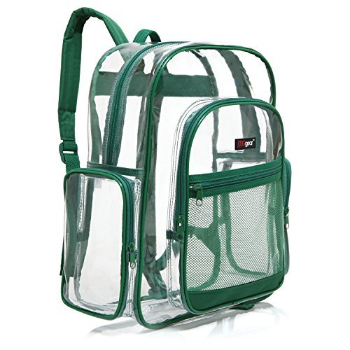 (MGgear Transparent PVC Book Bag, Clear Kids School Backpack, Green Trim)