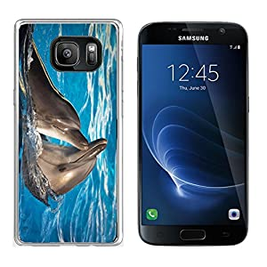 Liili Samsung Galaxy S7 Clear case Soft TPU Rubber Silicone Bumper Snap Cases IMAGE ID: 11036210 Pair of dolphins dancing in light blue water