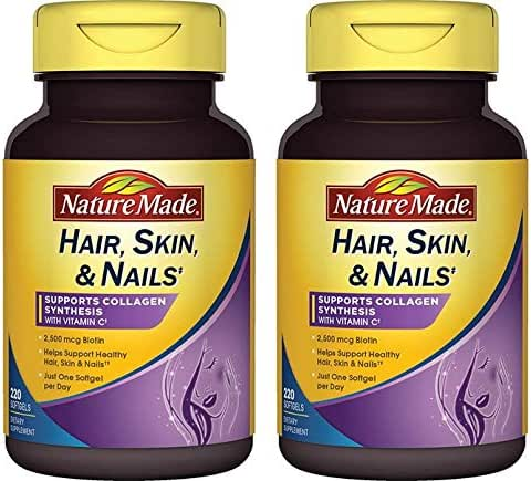 Nature Made Hair, Skin, Nails with Biotin 2500 mcg 220 Softgels - 2 Pack