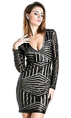 Missord Women's V Neck Long Sleeve Sequined Cocktail Mini Dress
