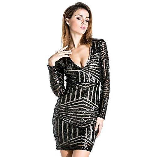 20162b2951 Miss ord Women s V Neck Long Sleeve Sequined Cocktail Mini Dress ...
