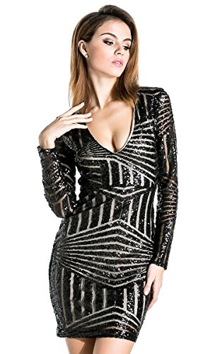 Misses Cocktail Dresses - Missord Women's V Neck Long Sleeve Sequined Cocktail Mini Dress Black Small