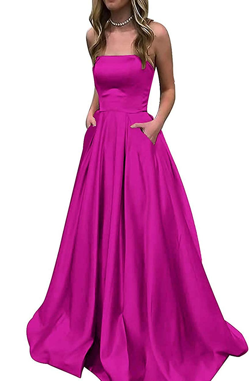 Hot Pink PrettyTatum Women's Strapless Satin Prom Dresses Long Formal Evening Ball Gowns with Pockets
