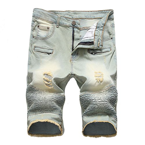 Henraly Mens Biker Denim Shorts Distressed Snowflake Ripped Jeans Shorts Summer Cotton Shorts for Male YC1303 Style 4 30
