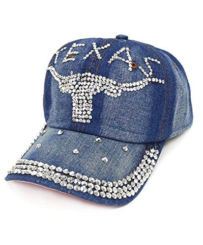 Texas Team Jeans Denim Bling Baseball Cap (Texas Bling)