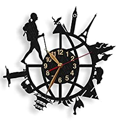 monastar Backpacker Wall Clock Wood Big Large Traveler Backpacker Girl or Guy Backpacking Around World Traveling Wall Art Décor - Select Size, Color