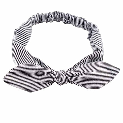 (Cotton Striped Headband For Women Lady Knotted Bow Rabbit Ear Stretch Hair Accessories 2)