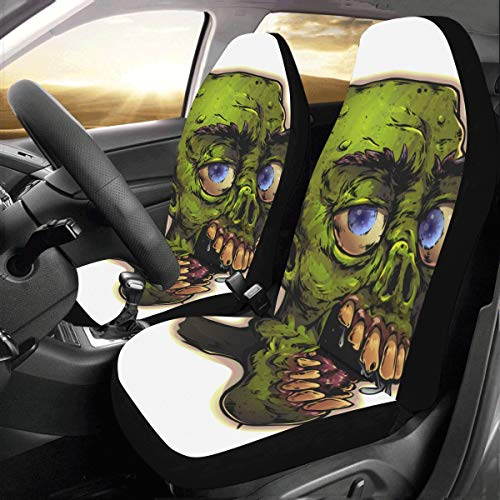 Scary Monster Zombie Cartoon Devil Custom New Universal Fit Auto Drive Car Seat Covers Protector for Women Automobile Jeep Truck SUV Vehicle Full Set Accessories for Adult Baby (Set of 2 Front) -