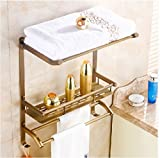 Gowe Classical Antique Brass Bath Shelf Wall Mounted Storage Holder