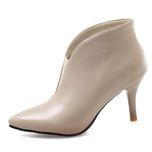 OALEEN Bottine Boots Femme Bout Pointu Talon Haut Aiguille Slip-on Effet  Cuir Hiver Soirée d009a1f734e4