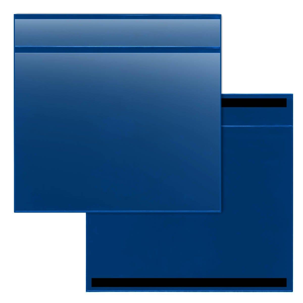 STORE SMART - 100-Pack Blue Document Holder with Title Pocket - Horizontal - R529PQBM-100