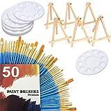Paint Brush Set, 50 pcs Nylon Hair Brushes 12 Pcs Paint Tray Palettes Plastic 6 pcs Mini Wood Display Easel for DIY Craft Professional Art Painting