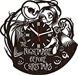 Lovelygift4you Handmade wooden wall clock the Nightmare before for men women him her wife mom kids | Jack skellington and sally simply meant to be wedding anniversary | Home decor tim burton movie
