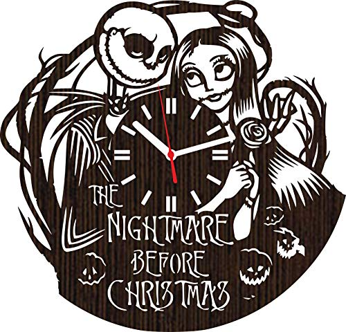 Lovelygift4you Wooden Wall Clock The Nightmare Before for Men Women him her Kids Jack Skellington and Sally Simply Meant to be Wedding Home Decor Tim Burton Movie Disney Toys Accessories ()