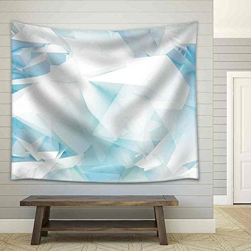 Blue Abstract 3D Background with Chaotic Polygonal Mesh Structure on The Wall Fabric Wall