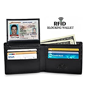 RFID Blocking Wallet Secure Bifold Card Holder Protector Leather Purse