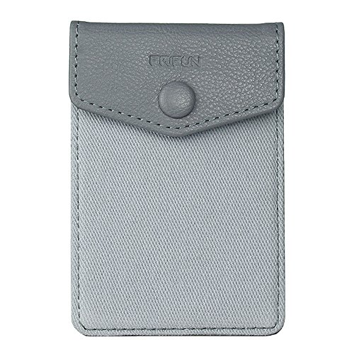 FRIFUN Cell Phone Wallet Ultra-Slim Self Adhesive Credit Card Holder Stick on Wallet Cell Phone Leather Wallet for Smartphones RFID Blocking Sleeve Covers Credit Cards (Gray)